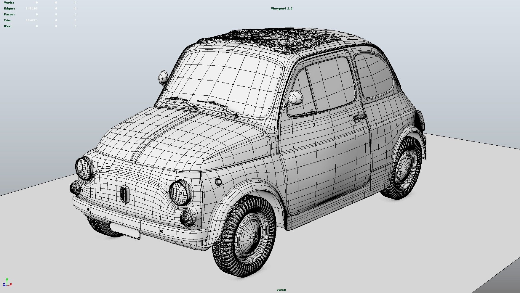 gallery category cars and bikes image fiat 500 3d model for maya wireframe lugher 3d. Black Bedroom Furniture Sets. Home Design Ideas