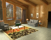 wood house mental ray interior render