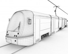 Train/Tram Ansaldo Breda wireframe 3d obj mb file for maya downolad