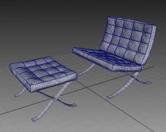 Barcellona Chair and Stool maya wireframe