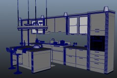 Kitchen Rome maya archmodels with shading wireframe download