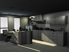 Kitchen design Milan wireframe shader maya