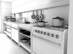 Kitchen Modena archmodels for maya wireframe autodesk