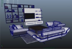 Living Room Catania 3d models for maya with shaders for mental ray and vray