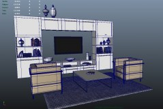 Living Room Manduria 3d models for maya with shaders for mental ray and vray