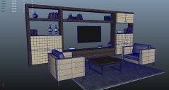 Living Room Trento 3d models for maya with shaders for mental ray and vray