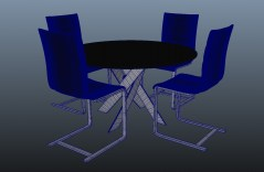table and chairs lampedusa 3d object obj for maya