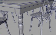 Chairs and Table old Titanic archmodels for maya wireframe